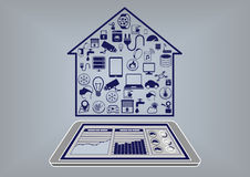 Flat design  illustration of a smart home automation infographic Stock Photography