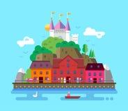 Flat design illustration of summer European Stock Photo