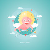 Flat design illustration of Valentines day card with a Cupid Royalty Free Stock Photography