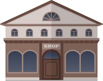 Bank and Shop on the Square of London, United Kingdom. Vector Isolated Illustration Royalty Free Stock Photo