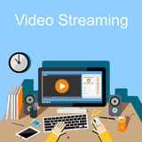 Flat design illustration of video streaming. Stock Photos