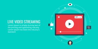 Flat design illustration of video streaming. Concept of live video streaming, video viewing including social sharing, audience engagement. Flat design vector stock illustration