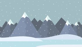 Flat design illustration of a winter mountain landscape with fro Stock Photos