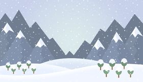 Flat design illustration of winter mountain landscape with trees Royalty Free Stock Images