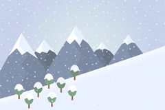 Flat design illustration of winter mountain landscape with trees Royalty Free Stock Image