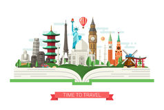 Flat design illustration with world famous landmarks on a book. Vector illustration of flat design composition with famous world landmarks icons on a book Royalty Free Stock Photos