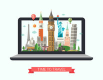 Flat design illustration with world famous landmarks on a display Stock Photos