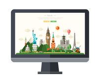 Flat design illustration with world famous landmarks on a display Royalty Free Stock Photo