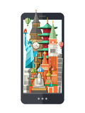 Flat design illustration with world famous landmarks on a display Royalty Free Stock Image