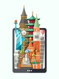 Flat design illustration with world famous landmarks on a display Stock Photo
