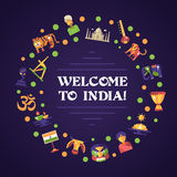 Flat design India travel banner with famous Indian symbols icons Stock Photography