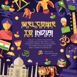 Flat design India travel flyer with famous Indian symbols icons Royalty Free Stock Images