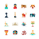 Flat design India travel icons, infographics elements with Indian symbols Royalty Free Stock Photo