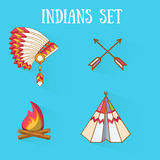 Flat design indians  set. Royalty Free Stock Photography