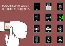 Flat design  infographic with smart watch icons. Hand swiping smart watch display on wrist with touch gesture Stock Images