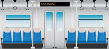 Flat Design of Inside Metro Passenger train Stock Images