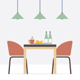 Flat Design Interior Dining Room Royalty Free Stock Photos