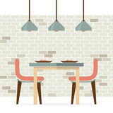 Flat Design Interior Dining Room. Vector Illustration Stock Image