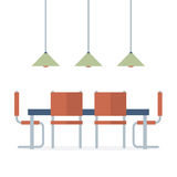 Flat Design Interior Dining Room Royalty Free Stock Images