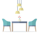 Flat Design Interior Dining Room Royalty Free Stock Image