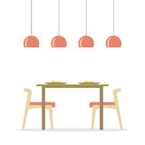 Flat Design Interior Dining Room Stock Photo