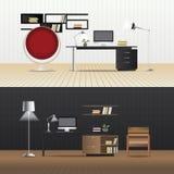 Flat Design Interior Living Room and Interior Furniture. Vector Illustration Stock Images