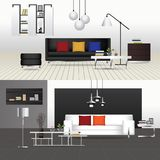 Flat Design Interior Living Room and Interior Furniture. Vector Illustration Royalty Free Stock Images