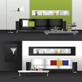 Flat Design Interior Living Room and Interior Furniture. Vector Illustration Royalty Free Stock Photos