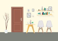Flat Design Interior Living Room With Wooden Door Royalty Free Stock Photography