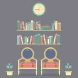 Flat Design Interior Vintage Chairs and Bookshelf Royalty Free Stock Photos