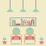Flat Design Interior Vintage Sofa and Bookshelf Royalty Free Stock Image
