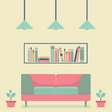 Flat Design Interior Vintage Sofa and Bookshelf Stock Photography