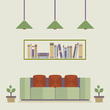 Flat Design Interior Vintage Sofa and Bookshelf Stock Photo