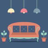 Flat Design Interior Vintage Sofa Stock Photography