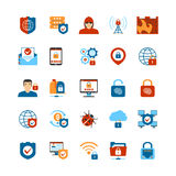 Flat Design Internet Security Icons Stock Photos