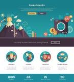Flat design investments website header banner with webdesign elements Stock Images