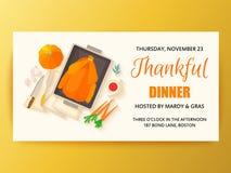 Flat design invitation card for Thanksgiving dinner. Typical festive dinner roast turkey, cranberry sauce, pumpkin, vegetables. It can be used for menus vector illustration