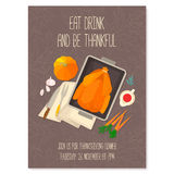 Flat design invitation card for Thanksgiving dinner. Stock Photos
