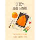 Flat design invitation card for Thanksgiving dinner. Typical festive dinner: roast turkey, cranberry sauce, pumpkin, vegetables. It can be used for menus royalty free illustration