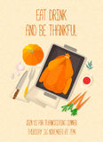 Flat design invitation card for Thanksgiving dinner. Stock Photo