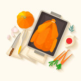 Flat design invitation card for Thanksgiving dinner. Typical festive dinner: roast turkey, cranberry sauce, pumpkin, vegetables. It can be used for menus vector illustration