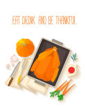 Flat design invitation card for Thanksgiving dinner. Typical festive dinner: roast turkey, cranberry sauce, pumpkin, vegetables. It can be used for menus stock illustration