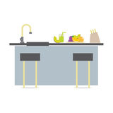 Flat Design Island Kitchen Interior Design Royalty Free Stock Image