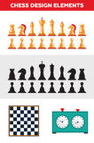 Flat design isolated black and white chess figures Stock Photo