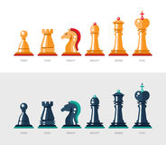 Flat design isolated named chess icons. Collection Stock Image