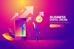 Flat design isometric vector concept with man and woman shaking hands through mobile screen for business mobile network. Connections, e-mail marketing, people royalty free illustration