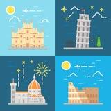 Flat design Italy landmarks set Stock Images