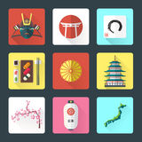 Flat design japanese icons set. Vector color flat style japan national theme icons with shadow set Royalty Free Stock Image
