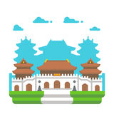 Flat design Jingan temple Shanghai Royalty Free Stock Photos