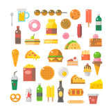 Flat design of junk food set Royalty Free Stock Images